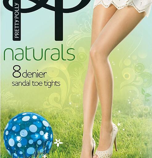 Naturals sandal toe tights 8 denier