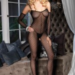 Crotchless Leg Avenue 2 Piece Daisy Lace Bodystocking With Matching Fingerless Gloves
