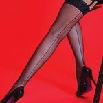 Silky Scarlet Fishnet Backseam Lace Top Stockings