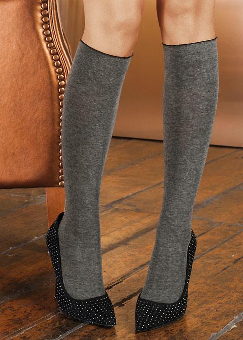 Trasparenze Wilma Cotton Knee Socks grey