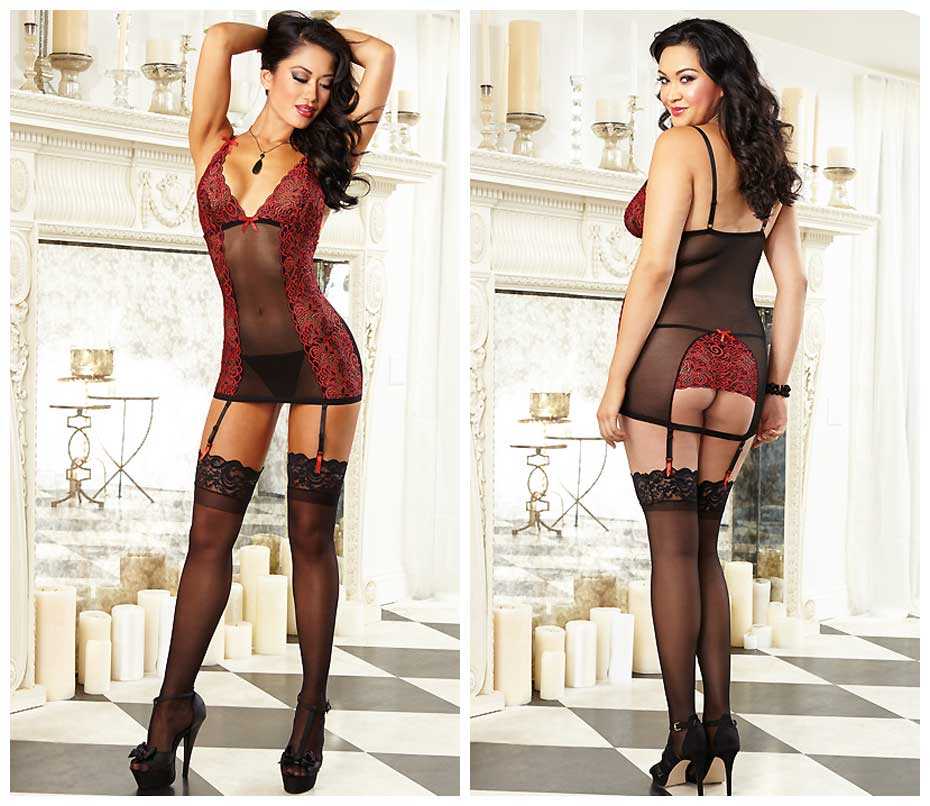 Dreamgirl Stretch Slip in Black and Red Valentines