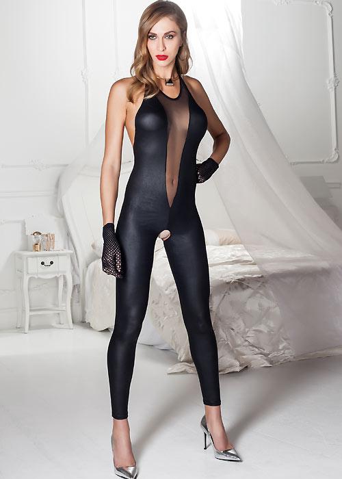Trasparenze Natalya Leather Look Catsuit - leather bodysuit