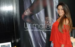 Couture Ultimates Casey Batchelor at Legwear International Trade Stand