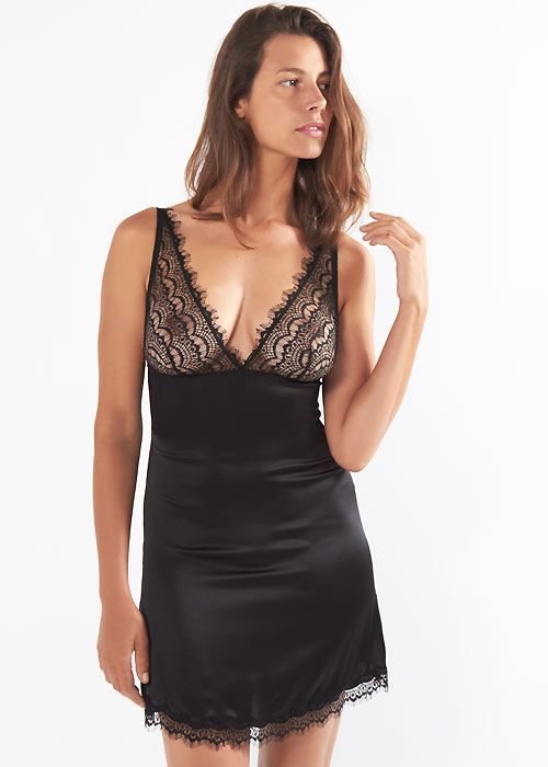 Mimi Holliday Bisou Bisou Zoo Shoulder Peep Chemise in black