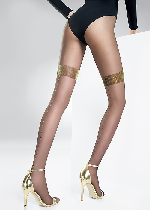 Pierre Mantoux Etoile Tights with Golden Back Seam