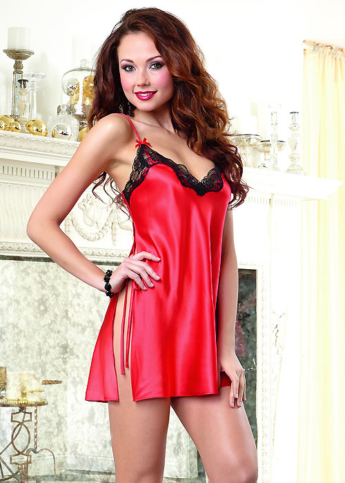 Dreamgirl Red Satin Charmeuse Chemise