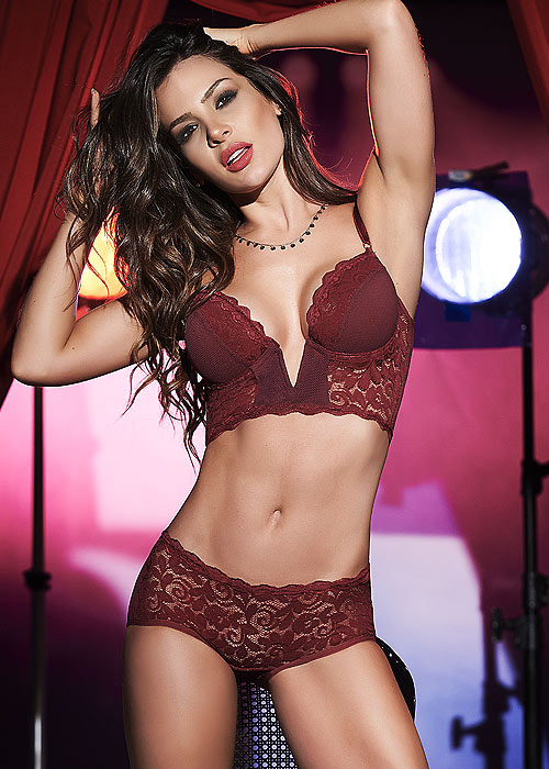 Mapale Plunge Lace Bra and Brief Lingerie Set