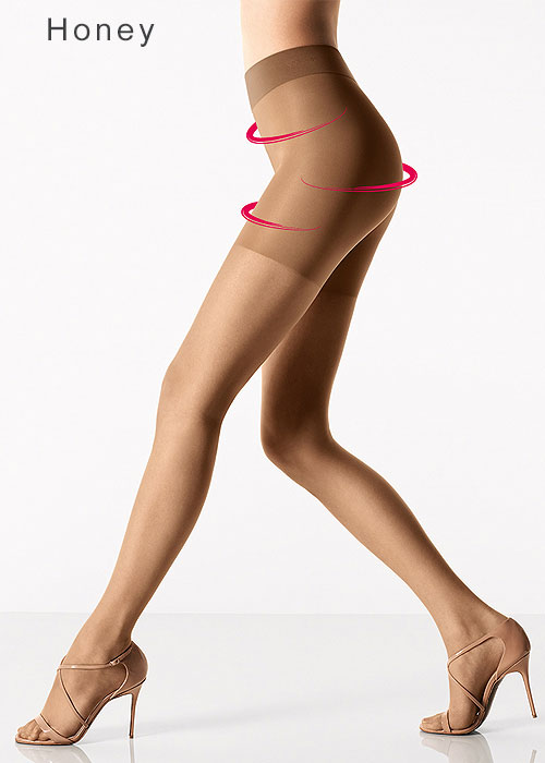 Wolford Luxe 9 Control Top Shaping Tights in Honey Tan
