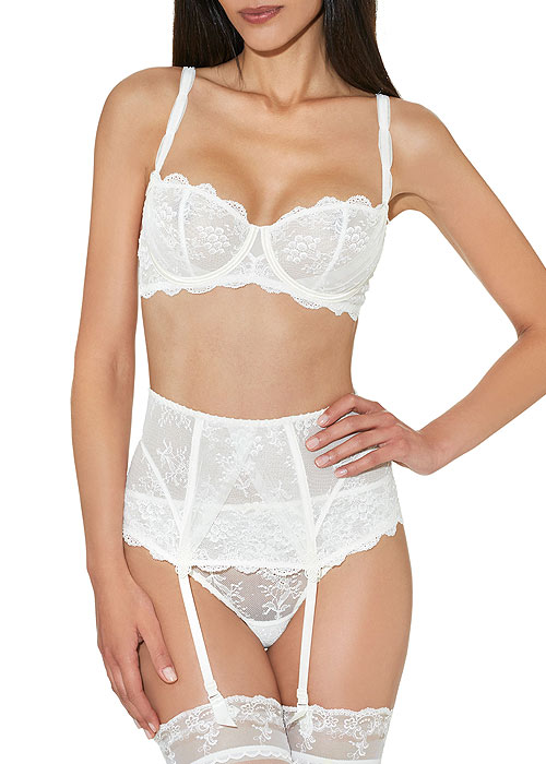 Aubade A L'Amour Half Cup Bra, Lace Brief, Stockings and Suspender Belt in White