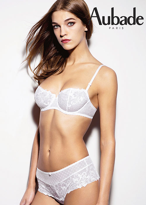 Aubade Bridal Wandering Love Half Cup Bra and Shortie in white