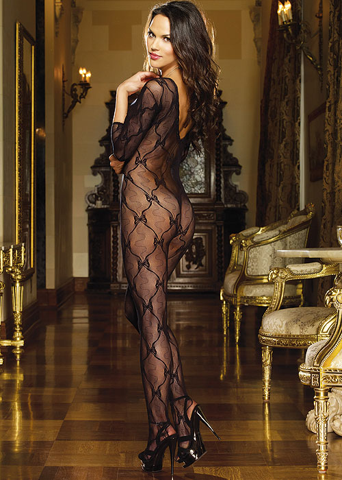 Dreamgirl Three Quarter Sleeve Lace Bodystocking