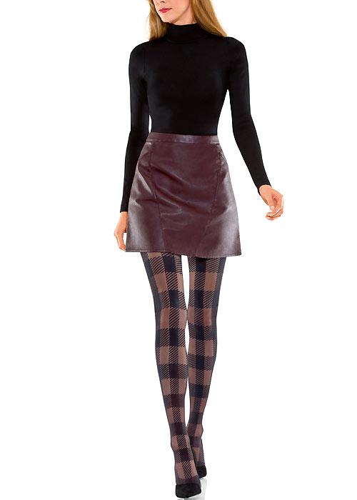 Black tartan tights
