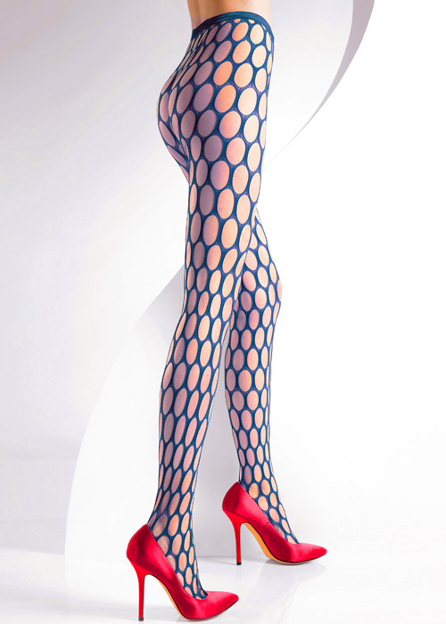Pierre Mantoux Sibilla Net Tights in Petrolio