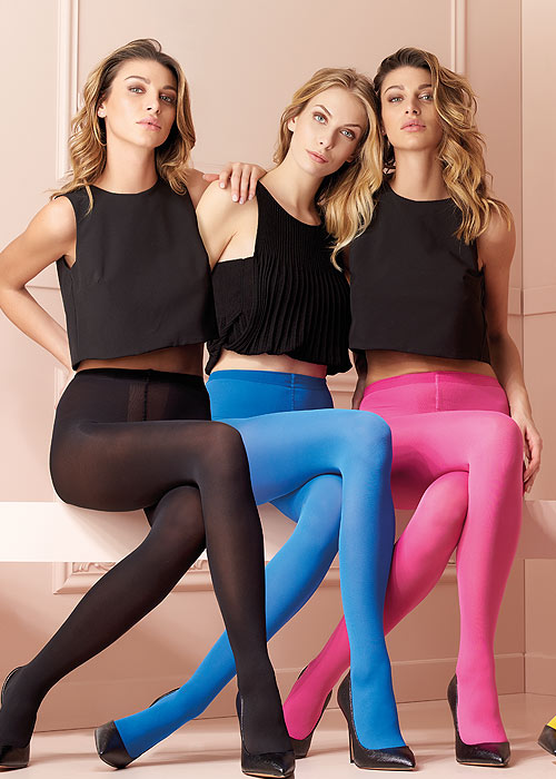 Trasparenze Sophie 70 Denier Opaque Tights black blue pink