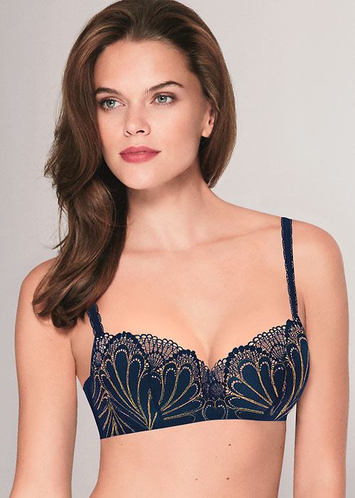 Wonderbra Balconette Push Up Bra Marine Gold