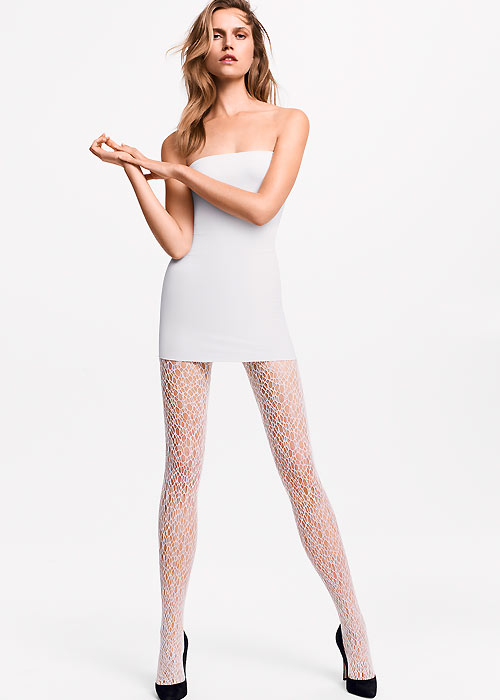 Wolford Cyndi Lace Net Tights White
