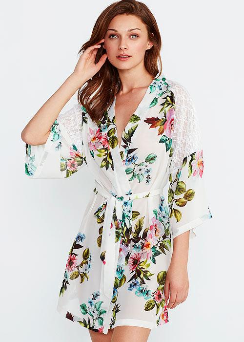 Promise Floral Lace Satin Kimono Robe