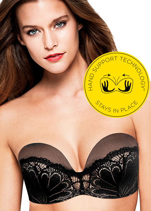 Strapless Bras that stay up: Wonderbra Refined Glamour Ultimate Strapless Bra black