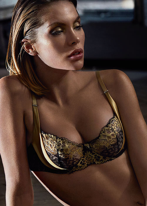 Aubade gold and black lace half cup
