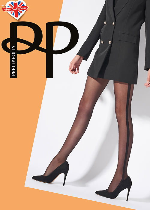 Pretty Polly sheer tights with side stripe panel
