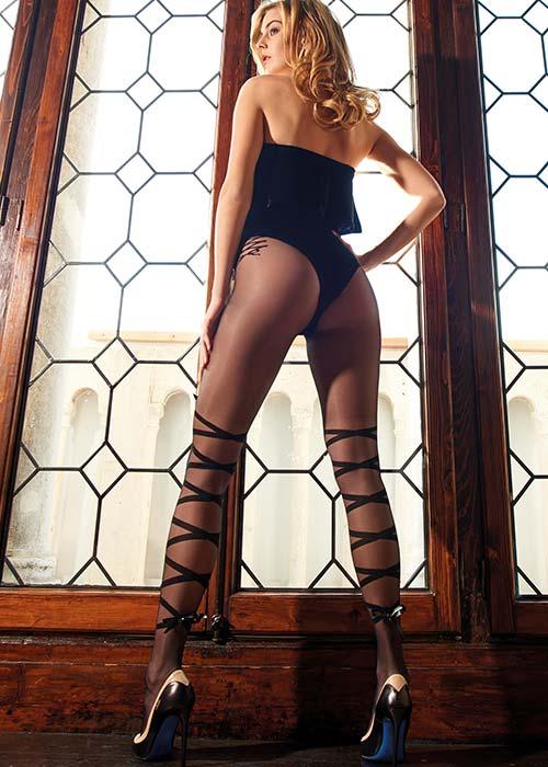 Ribbon-patterned tights Trasparenze Penelope