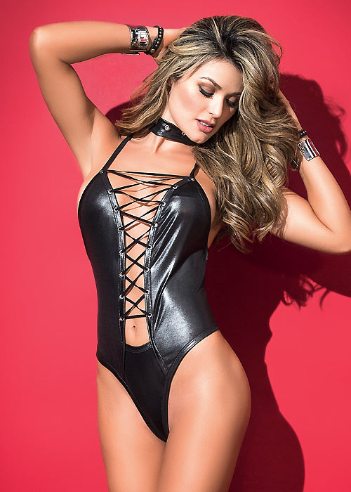 Mapale leather look bodysuit