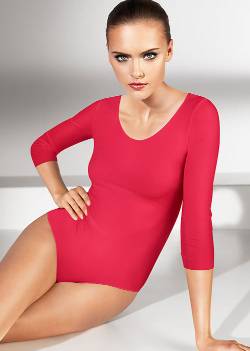 Wolford three quarter sleeve Red Bodysuit