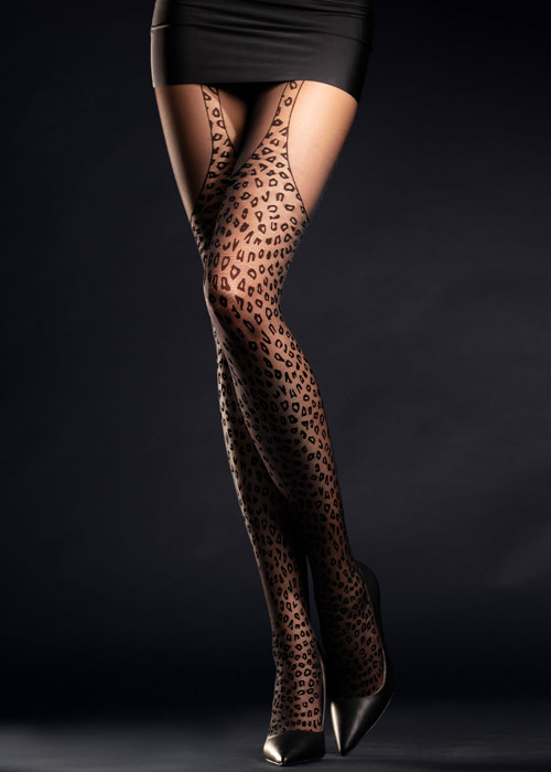 Fiore Animal Print Suspender Tights