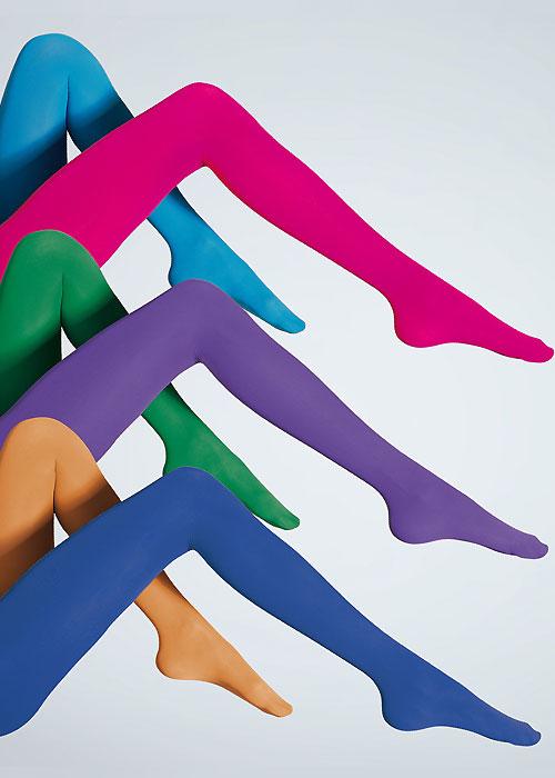 Six coloured opaque tights: turquoise, fuchsia, emerald, amathyst, mustard, cobalt blue