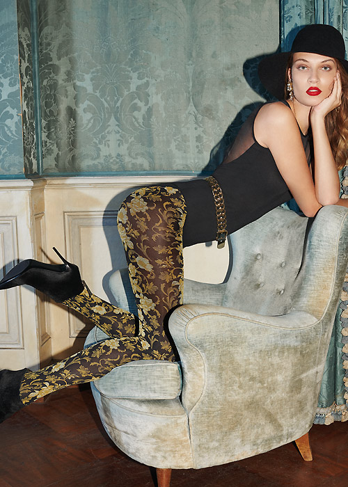 Golden floral and baroque patterned opaque tights