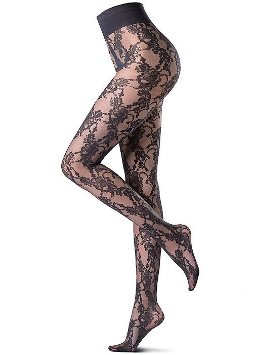 Oroblu Lace Rose Tights in black