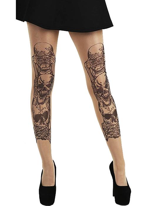 Pamela Mann See Hear Speak No Evil Tattoo Tights