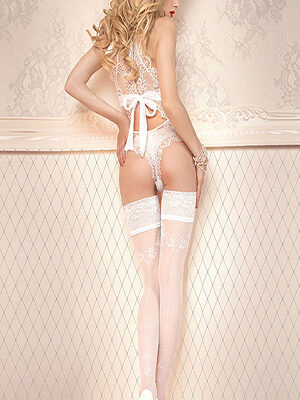 Ballerina 433 Deep Lace Top Hold-Ups White Thumbnail